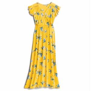 Loveappella Yellow Floral Maxi Dress Sz.MP